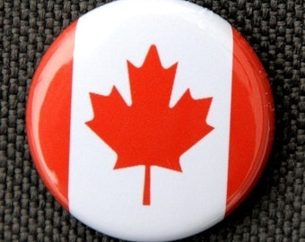 Canadian Flag - Button Pinback Badge 1 inch