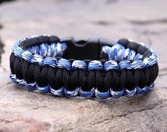 Paracord Survival Bracelet - Blue Camo and Black