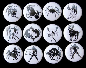 Zodiac Signs Set of 12 Buttons Pinbacks Badges 1 inch