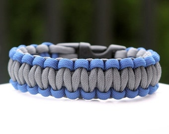 Paracord Survival Bracelet - Royal Blue and Grey
