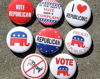 Republican Buttons Set of 8 Pinbacks Badges 1 inch