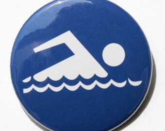 Blue Swimming Symbol - Button Pinback Badge 1 1/2 inch - Magnet Keychain or Flatback