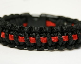 Paracord Survival Bracelet - Thin Red Line Deluxe Firefighter