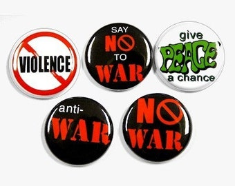 Anti War Buttons Set of 5 Pins Badges 1 inch