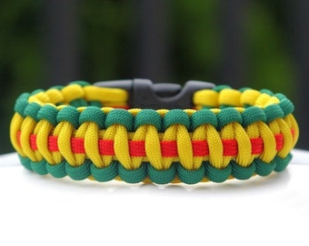 Paracord Survival Bracelet - Vietnam Service - Green Yellow and Red