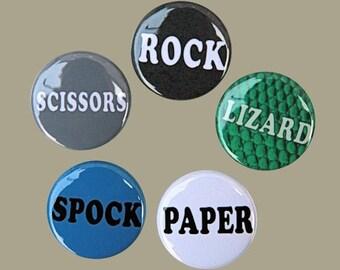 Rock Paper Scissors Lizard Spock - Set of 5 Magnets 1 inch