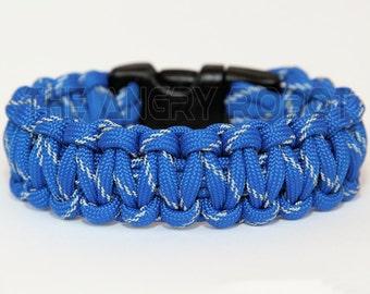Paracord Survival Bracelet - Royal Blue Reflective