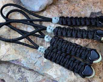 Set of 4 Black Paracord Lanyards with Glow Ends and Glow Skull Beads -  Zipper Pulls