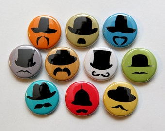 Hats and Mustaches Set of 10 - Magnets 1 inch