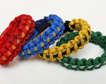 SLIM Paracord Survival Bracelet Cobra Deluxe - Wizard House Colors