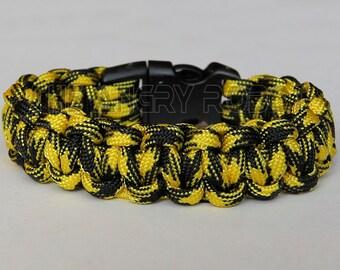 SLIM Paracord Survival Bracelet Cobra - Bumble Bee - Yellow Black