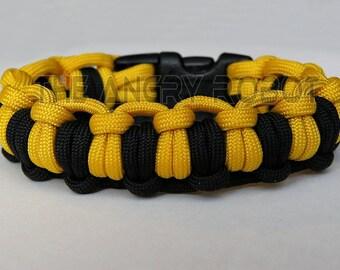550 Paracord Survival Bracelet Half Hitch Alt - Yellow and Black