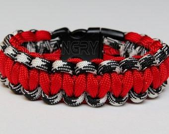 SLIM Paracord Survival Bracelet Cobra - Black Combo & Red