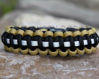 Paracord Bracelet - Team Colors - Desert Tan Black White - Deluxe