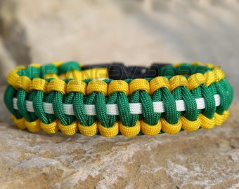Paracord Bracelet - Team Colors - Yellow Kelly White - Deluxe