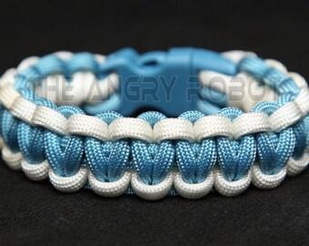 SLIM Paracord Survival Bracelet Cobra - White and Carolina Blue - Blue Buckle