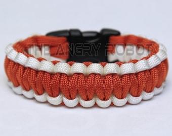 550 Paracord Survival Bracelet  - White and International Orange
