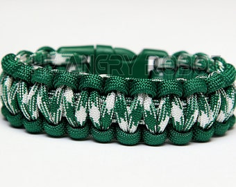 550 Paracord Survival Bracelet  - Kelly Green and Kelly Combo - Green Buckle