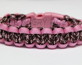 SLIM Paracord Survival Bracelet Cobra - Pink and Chocolate Hearts - Pink Buckle