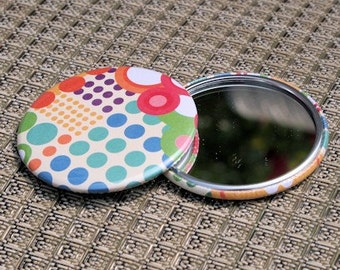 Abstract Color Dots Pocket Mirror 2 1/4 inch