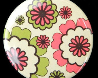 Pink and Green Retro Flowers Pocket Mirror 2 1/4 inch
