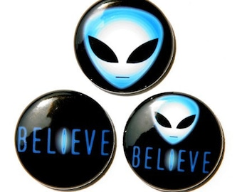 Believe In Aliens Set of 3 - Buttons Pinbacks Badges 1 inch