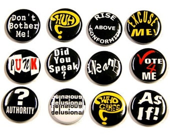 Punk Slogans 2 Set of 12 Buttons Pinbacks Badges 1 inch
