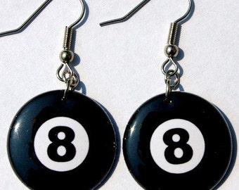 8 Ball - Button Earrings