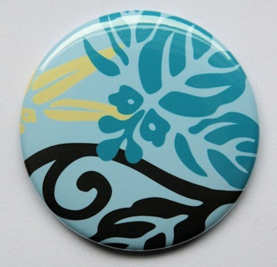 Hawaiian Blue Print Pocket Mirror 2 1/4 inch  2.25