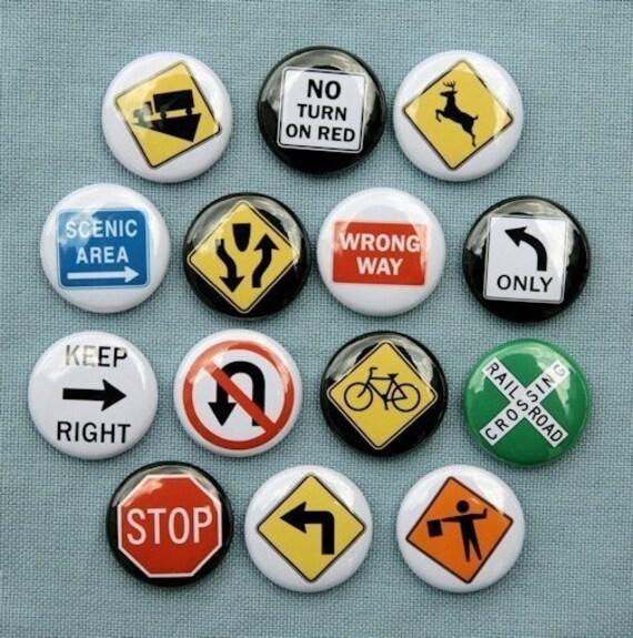 Traffic Road Signs 1 - Set of 14 Buttons Pinbacks Badges 1 inch - Flatbacks or Magnets