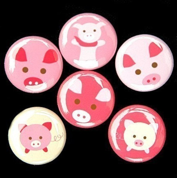 Little Pigs Set of 6 Buttons Pinbacks Badges 1 inch