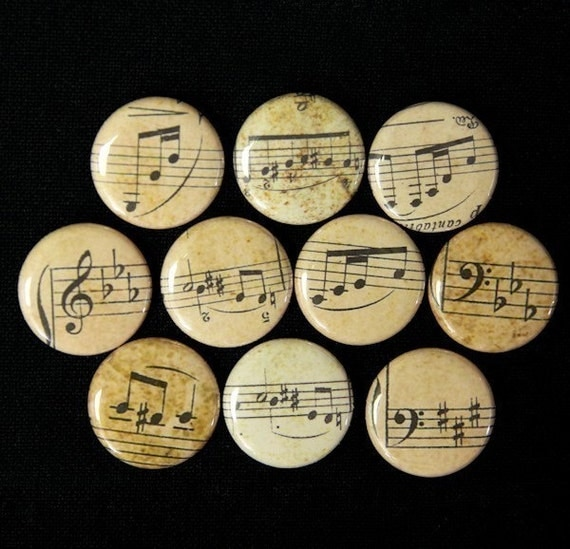 Musical Notes Sheet Music Set of 10 - Buttons Pinbacks Badges 1 inch