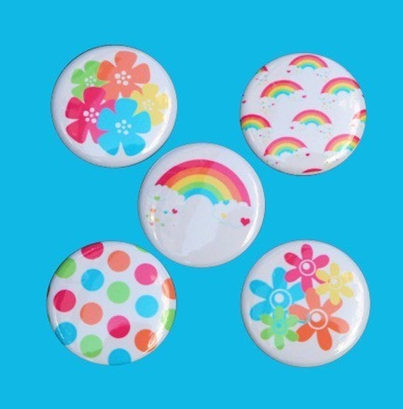 Rainbow Flowers Buttons Set of 5 Pinbacks Badges 1 inch