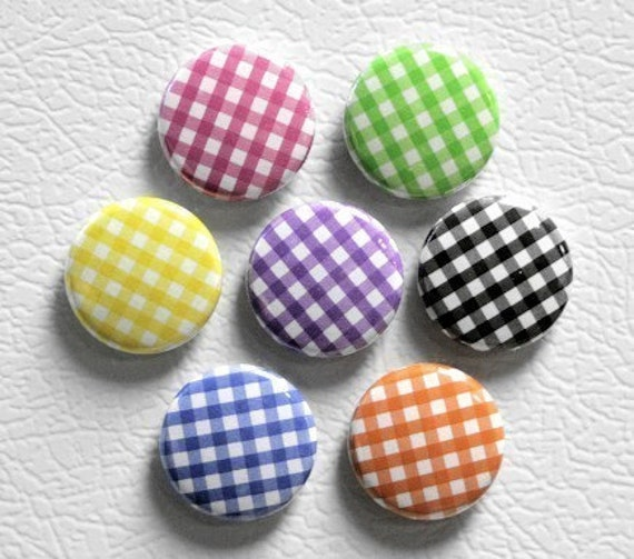 Gingham Print Buttons Set of 7 - Pinbacks Badges 1 inch