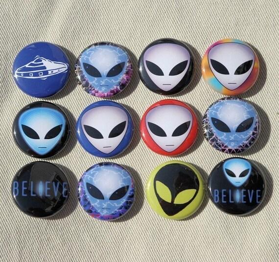 Alien Heads Set of 12 Buttons Pinbacks Badges 1 inch