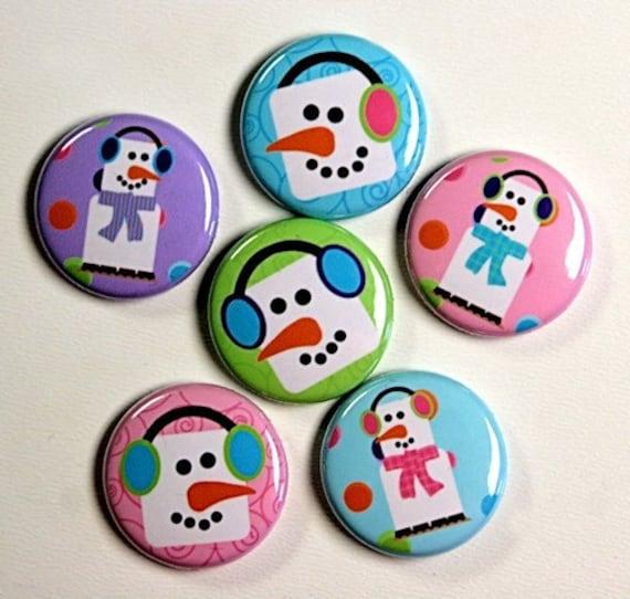 Smores Snowmen Set of 6 Buttons Pinbacks Badges 1 inch