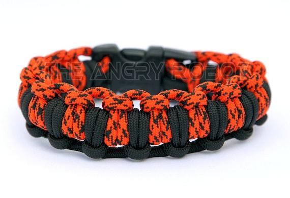 Paracord Survival Bracelet Half Hitch Alt - Black and Neon Orange Camo