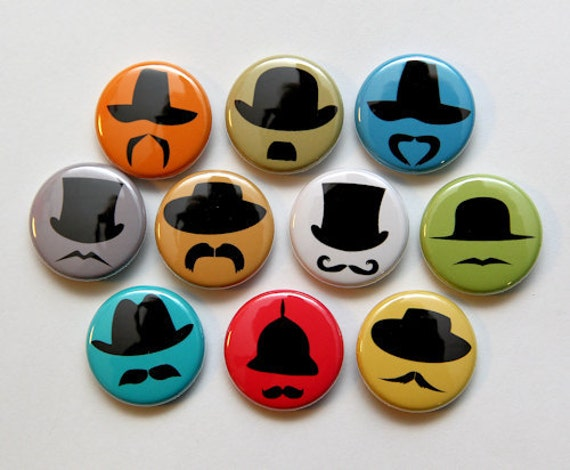 Hats and Mustaches Set of 10 - Pinback Buttons Badges 1 inch