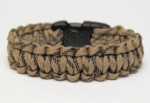 550 Paracord Survival Bracelet  - Tan Black Fleck
