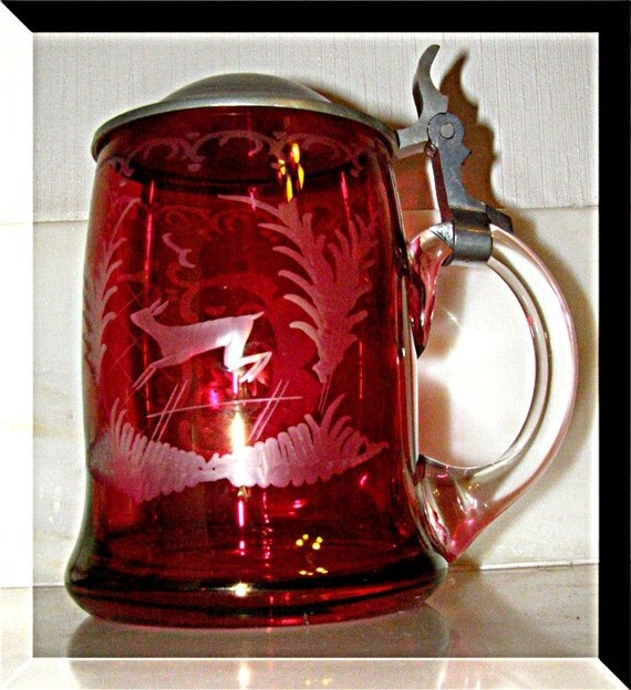 Items Similar To Crystal Cut Beer Stein Gold Ruby Overlay German Free Blown Crystal Tin Lid