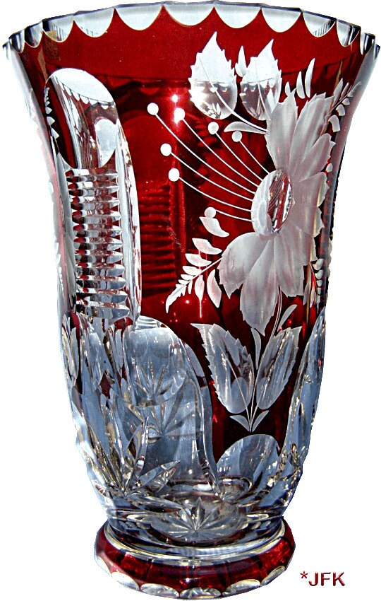 Cut Crystal Glass Vase Bohemian Free Blown Ruby Overlay