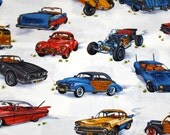 Cotton Fabric - Robert Kaufman - Classic Vintage Cars on White - 1 yard - Last One