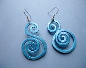 Handmade BOLD Shimmer Blue Hammered Aluminum Swirly Goddess Whimsical Earrings