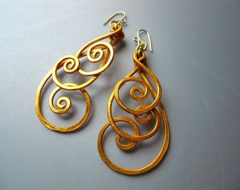 BOLD Peacock Gold Tone Aluminum Thick Hammered Spiral Wire Long Earrings