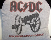ACDC Upcycled Safe Sex Pillow, Decorative/Throw Pillow w/ Condoms & Lube, Gray, Black, Cannon, Rock, Metal, OOAK