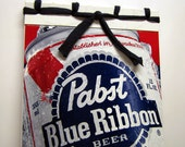 Original Blue Ribbon - Recycled Pabst Beer Journal, Notebook, Memo Pad, Red, White, Americana, Upcycled t-shirt, Stab Bound, Reversible