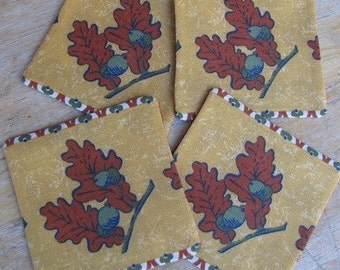 Festive Fall - Whiskey or Wine Coaster/Cozy, Leaves, Autumn, Thanksgiving, Holiday, Nuts, Trees