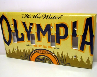 It's the Water - Recycled Olympia Beer Quadruple Light Switch Plate, Cover, Washington, Yellow, Blue, Seattle, Horseshoe, Luck
