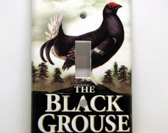 The Black Grouse - Recycled Single Light Switch Plate Cover, Upcycle Scotch Whisky Package, Bird, Liquor, Mountain, Whiskey