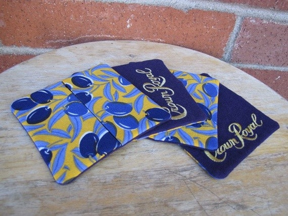 Tapas - Wine Cozy or Whiskey Coaster x 4, Crown Royal, Olives, Purple, Yellow, Upcycled, Recycled, Housewarming